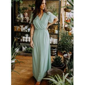 Bohme Elena Short Sleeve Maxi Dress Sage-S